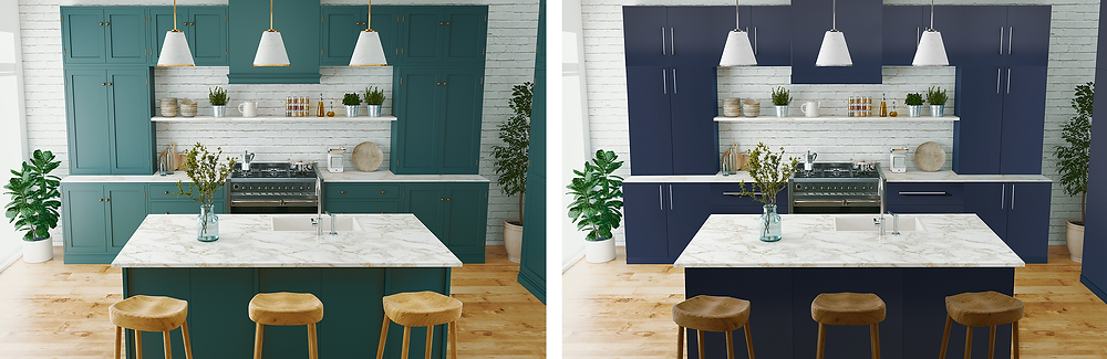 Two images of the same kitchen with different cupboard doors, created using Photoshop.