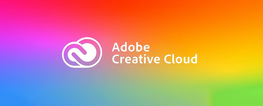 The Adobe Creative Cloud logo on a multi-coloured background.