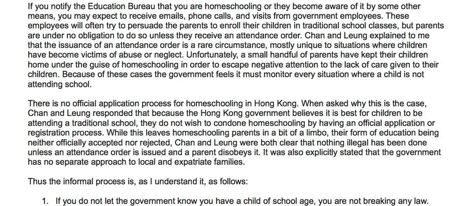 Status of Homeschooling in Hong Kong