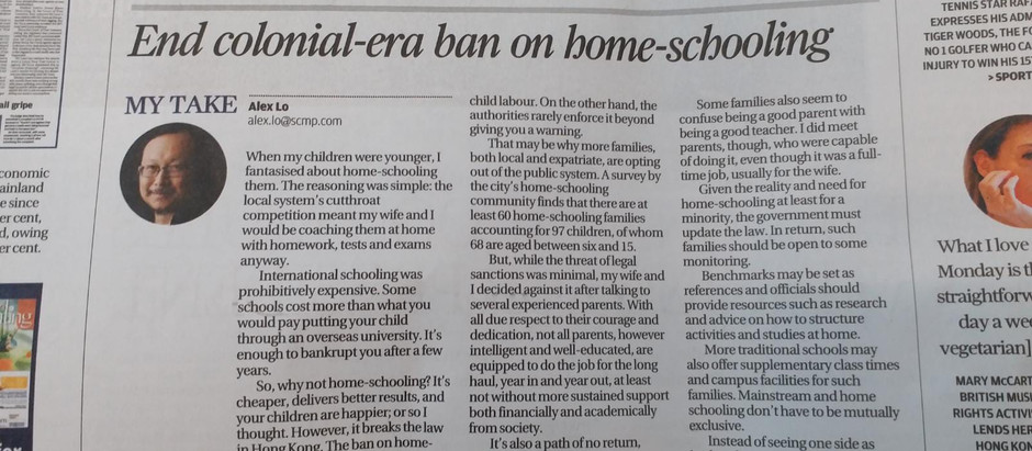 End the Colonial-era Ban on Home-schooling (SCMP)