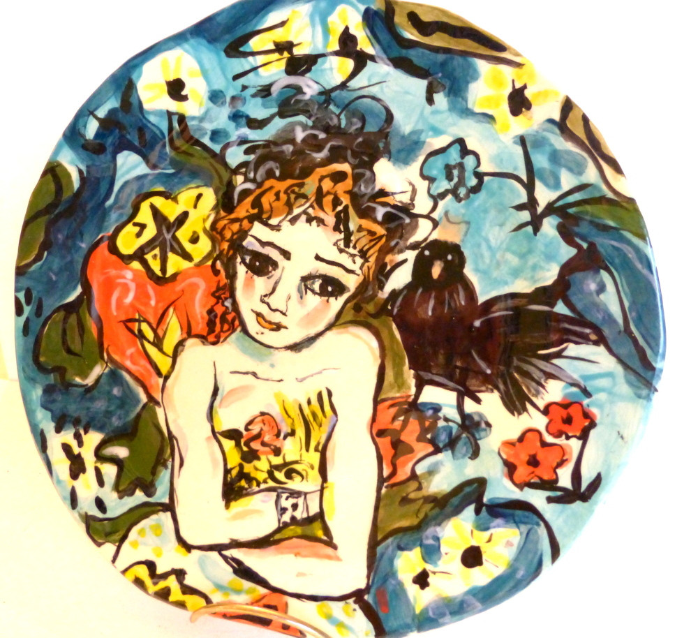"plate ""Brunette and her Crow"""