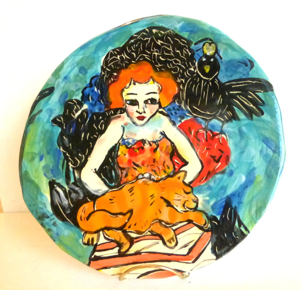 "plate ""Redhead and her Crow"""