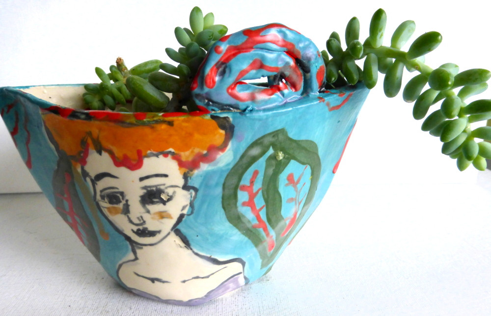 """planter """"redhead with turquoise background"""""""
