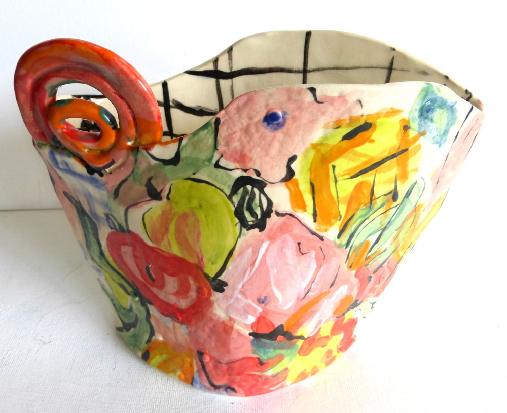 "vase/planter ""floral"" 7"" W"