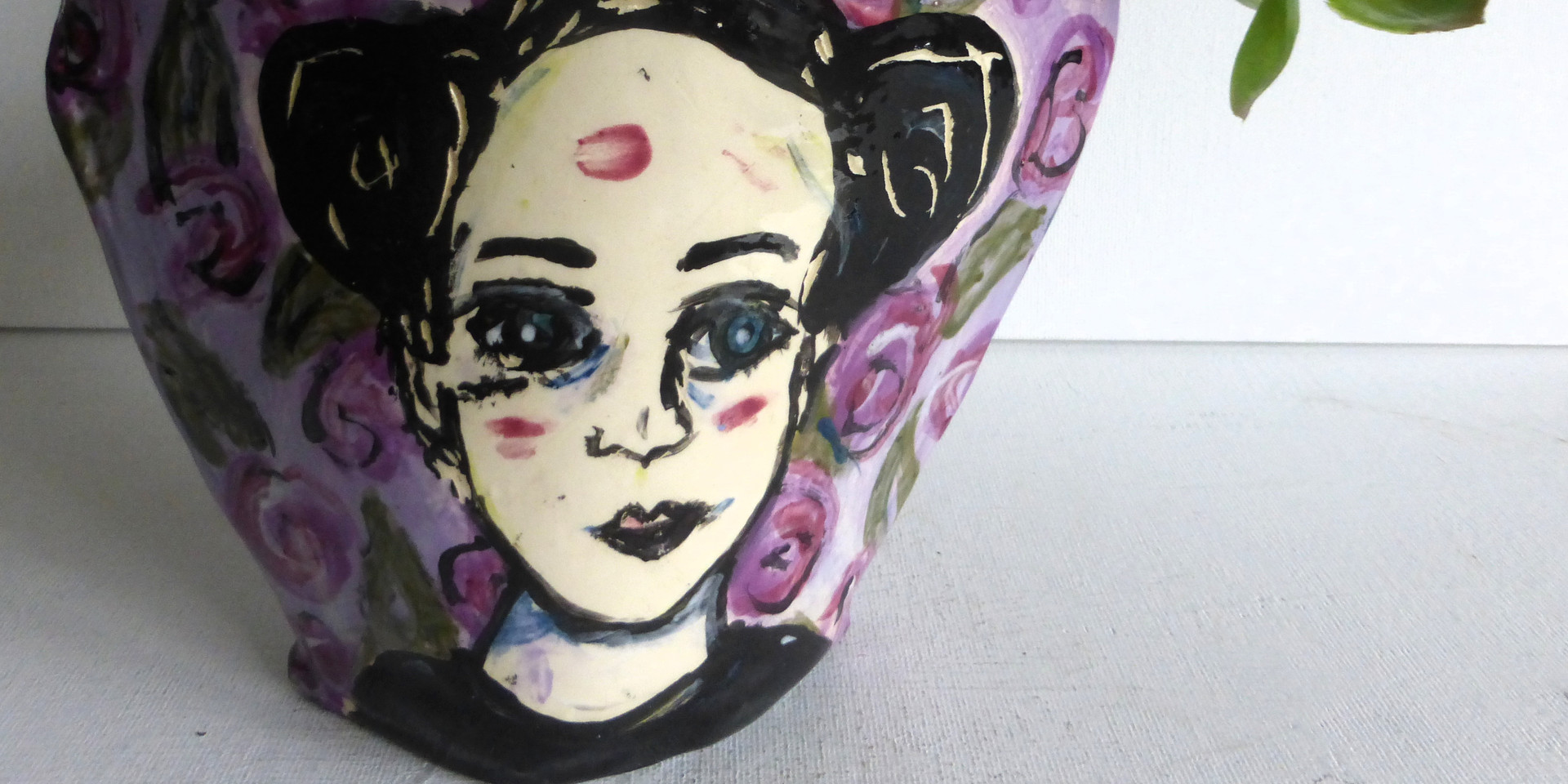 """planter """"raven haired on purple floral"""""""