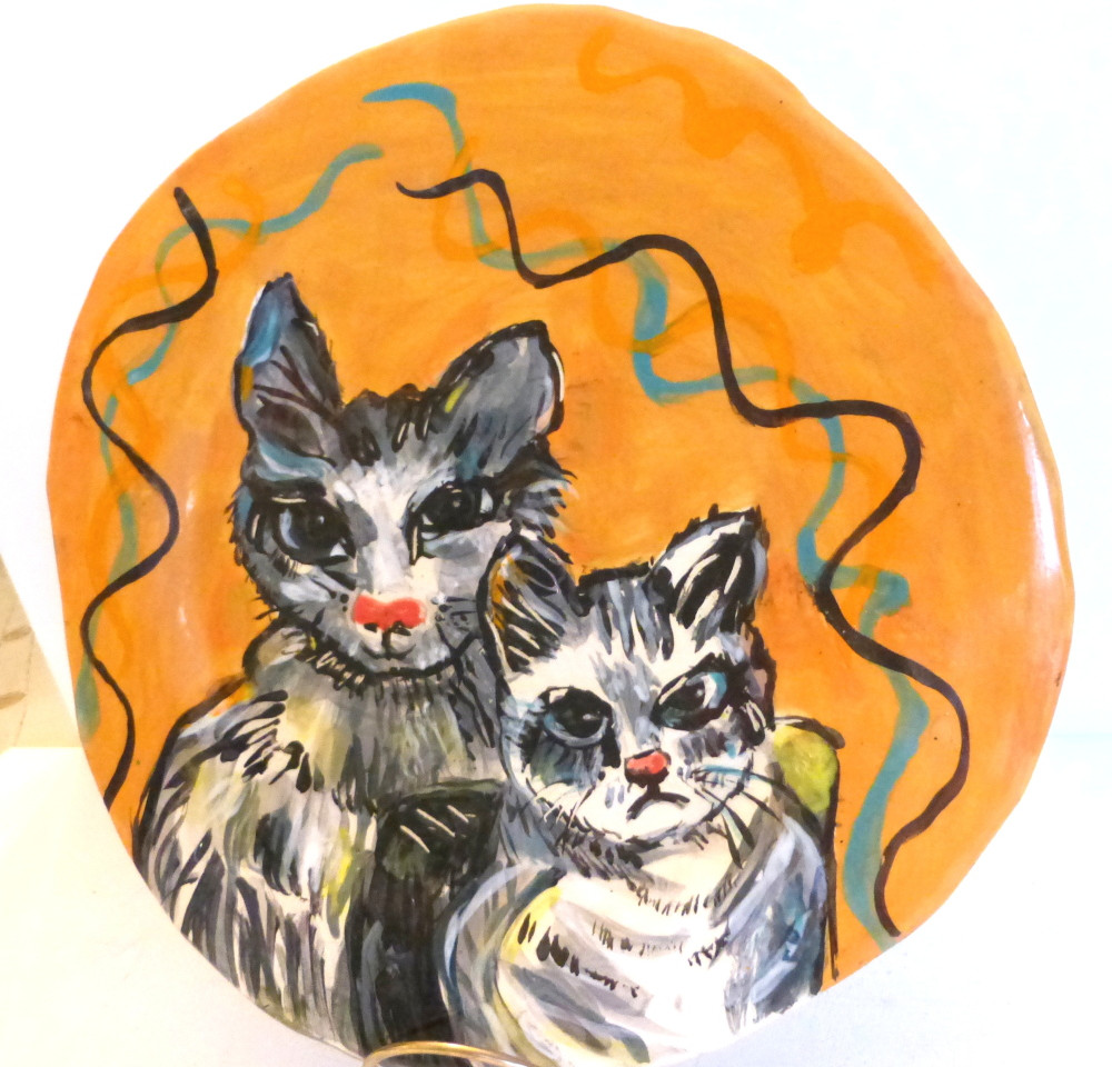 "plate ""mama and kitten"""