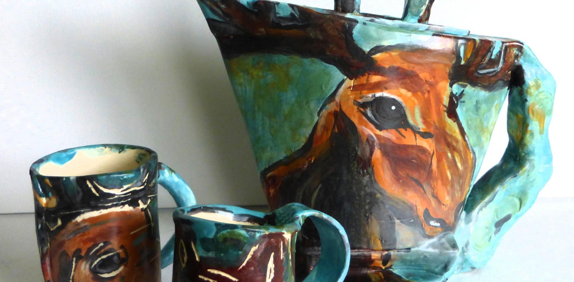 """Teapot """"Moose & Bear"""" & 2 mugs"""