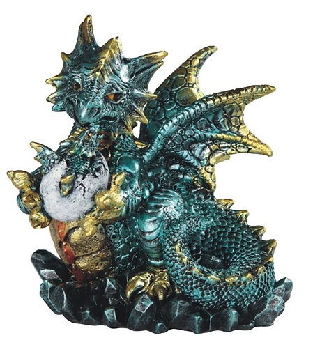 GSC-71799 Small teal blue dragon holding baby dragon hatching from egg.