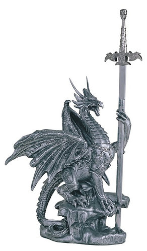 GSC-71345  Tall Silver Dragon with Sword.