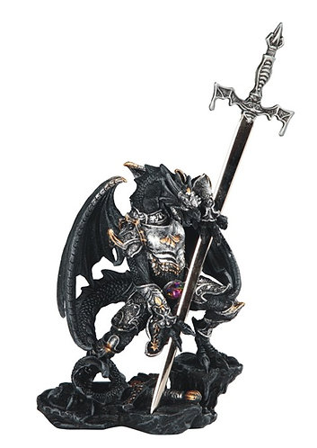 GSC-71825 Small Black/silver dragon with sword