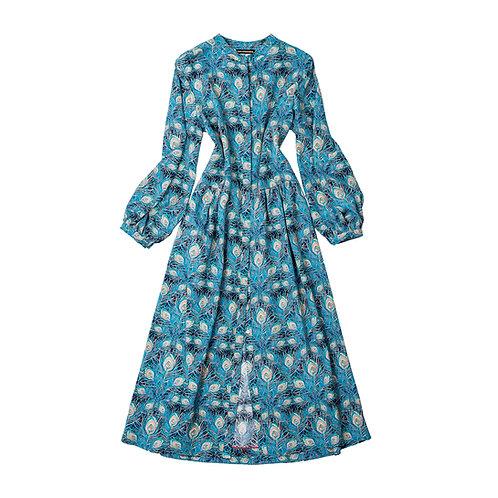 The Marina Silk Dress - Peacock