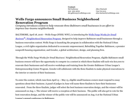 Wells Fargo announces Small Business Neighborhood Renovation Program