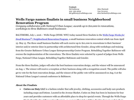 Wells Fargo Small Business Renovation Recipients Announced!
