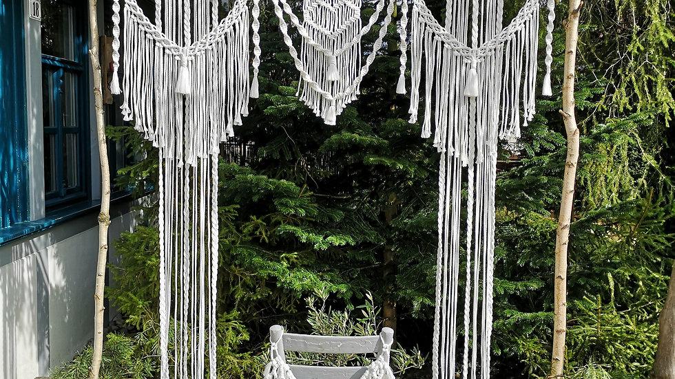 Makramee Wedding Backdrop mit Traubogen Birke