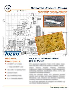 Tolko high Prarie alberta Project Sheet.
