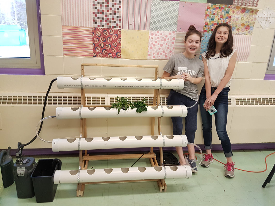 Students after building their own nutrient film technique hydroponics system!