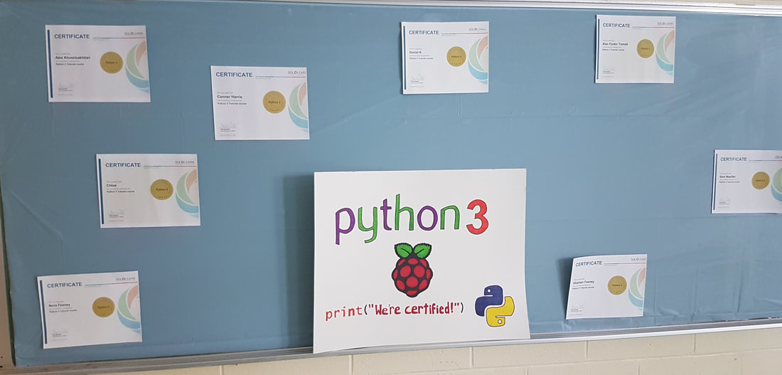 Python programming language coding certificates received by several students.