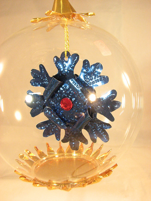 Blue Snowflake Jewel with Red Bead 172br