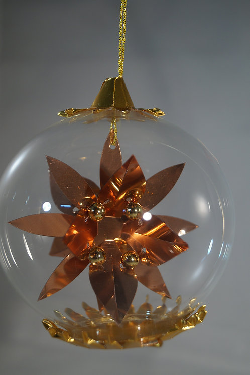 Copper Poinsettia  Gold Beads 115CG