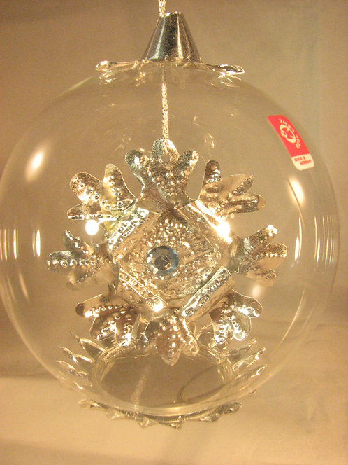 Snowflake Jewel Silver with Blue Bead sb