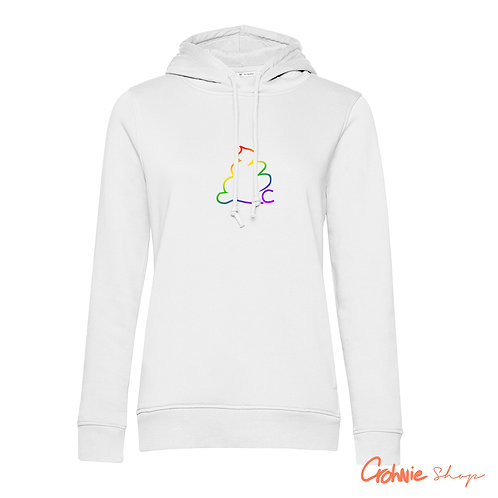 Hoodie vrouw - Regenboog op Wit