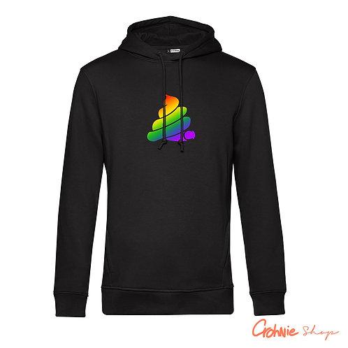 Hoodie man - Regenboog op zwart