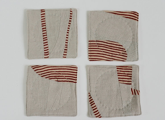 Taupe Linen Coaster Set 2