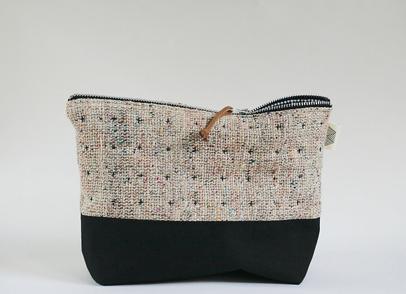 Plus Zipped Pouch in Multicoloured Raw Silk and Black