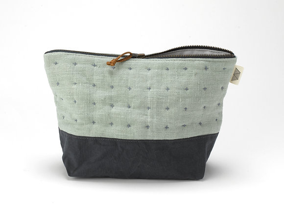 Plus Zipped Pouch in Sage and Grey-Blue