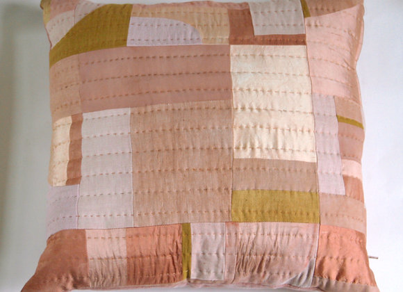Avocado Dyed Pink Patchwork Cushion Cover