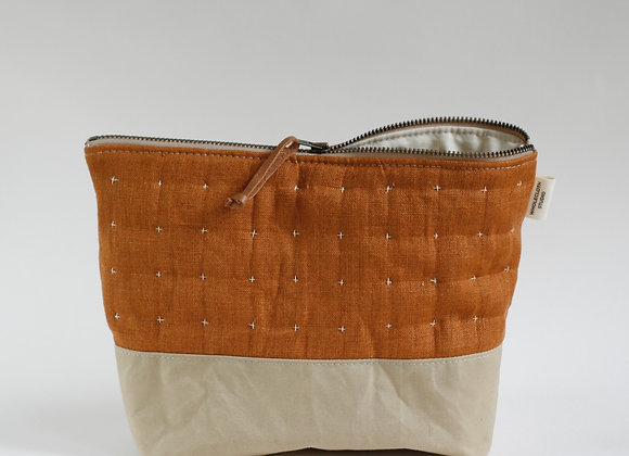 Plus Zipped Pouch in Rust and Beige