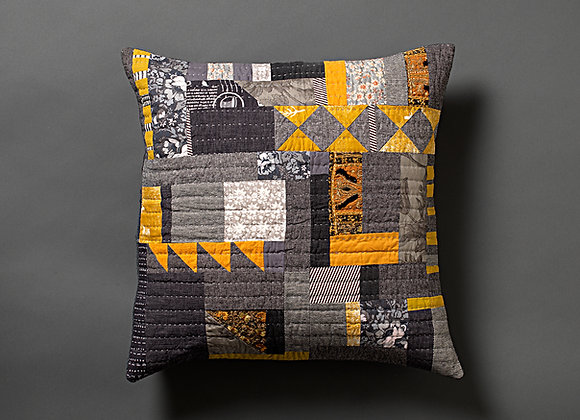 Grey Mustard Patchwork Cushion Cover