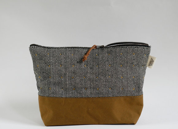 Plus Zipped Pouch in Black and White Herringbone and Mustard