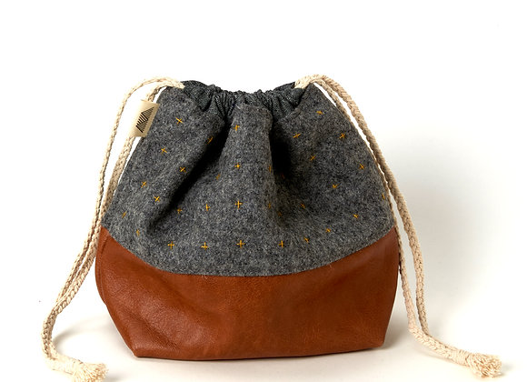 Plus Wool and Leather Project Bag in Grey/Lime