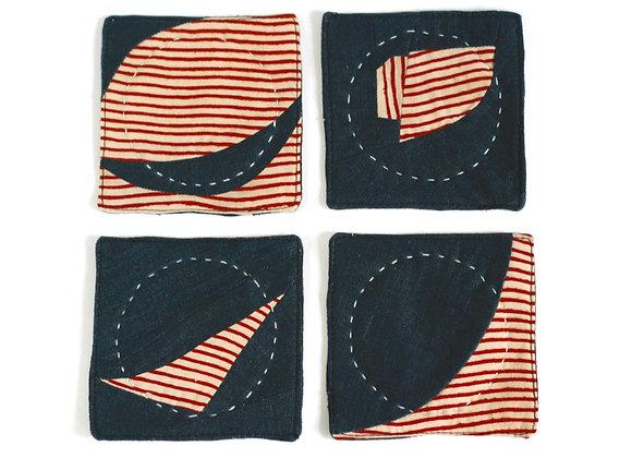 Charcoal/Red Stripe Coaster Set