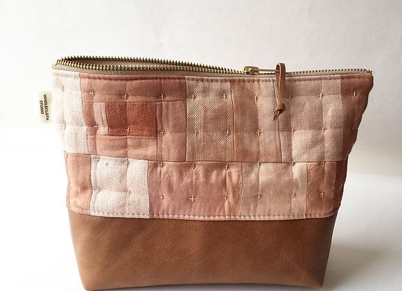 Plant Dyed Patched Plus Pouch with Leather