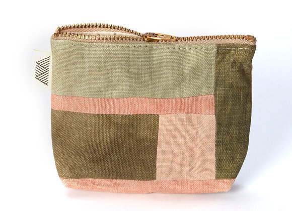 Plant Dyed Patched Coin Purse in Pink/Green