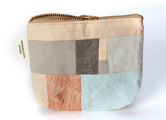 Plant Dyed Patched Coin Purse in Peach/Grey/Ice Blue
