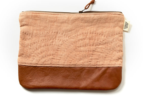 Large Fan Clutch in Plant Dyed Peach