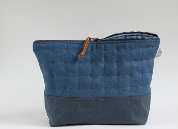 Plus Zipped Pouch in Blue and Grey