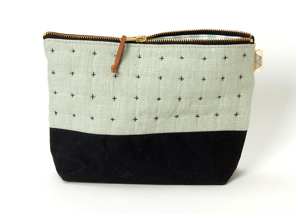 Plus Zipped Pouch in Sage and Black