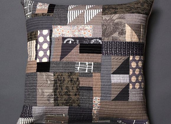 Grey Freeform Patchwork Cushion Cover