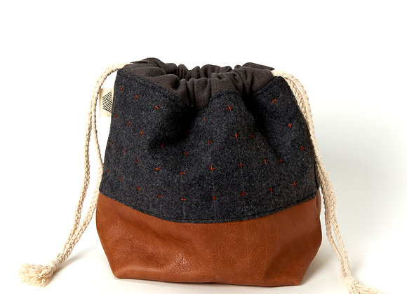 Plus Wool and Leather Project Bag in Charcoal/Rust