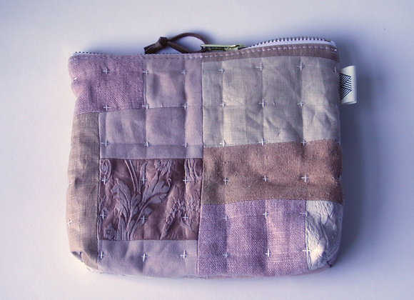 Hand Quilted Patch Pouch in Pinks