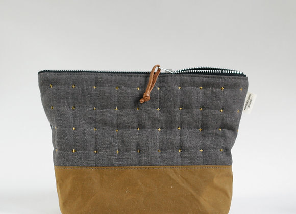 Plus Zipped Pouch in Charcoal and Mustard