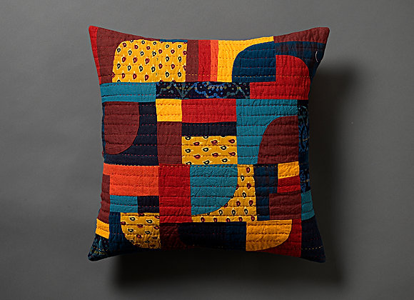 Bright Freeform Patchwork Cushion Cover