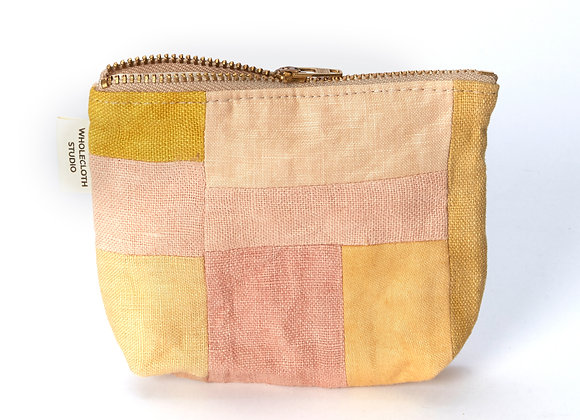 Plant Dyed Patched Coin Purse in Pink/Yellow