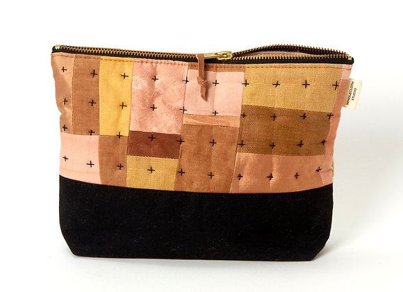 Plant Dyed Patched Plus Pouch in Pink/Ochre/Hazelnut