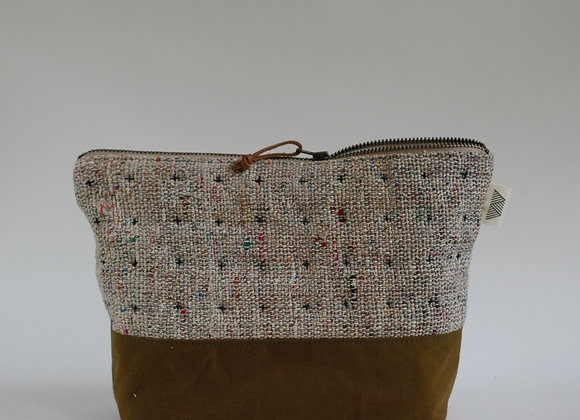 Plus Zipped Pouch in Multicoloured Raw Silk and Mustard