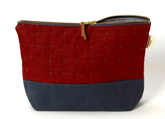 Plus Zipped Pouch in Wine and Blue-Grey